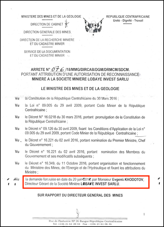Concession document from the Central African Republic, showing 'Evgenii Khodotov' as the Director of Lobaye Invest SARLU