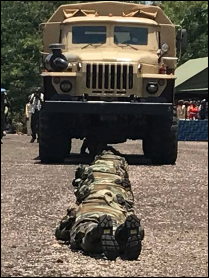Soldiers in C.A.R. training with a Ural 4230 in spring 2018, identified on the C.A.R.'s president's Facebook page by     Conflict Intelligence Team    .