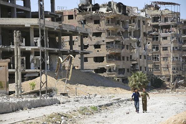 Douma in Syria  By Kyodo News