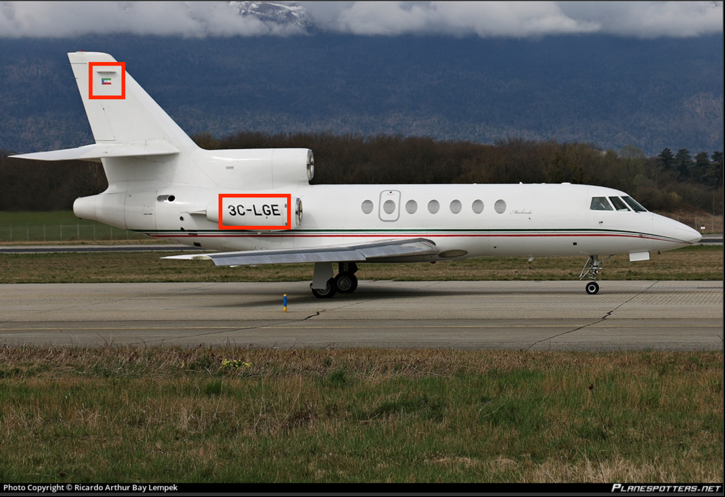 Equatorial Guinea-registered Dassault Falcon 50 (Registration Number: 3C-LGE). Source: https://www.planespotters.net/photo/752944/3c-lge-guinea-equatorial-aire-lines-sa-dassault-falcon-50