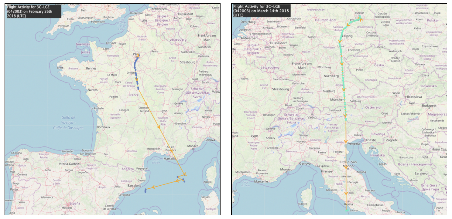 Equatorial Guinea-registered Dassault Falcon 50 (Registration Number: 3C-LGE) flight activities in and around Paris and Berlin on February 26, 2018 and March 14, 2018. Source:    ADS-B Exchange Historical Flight Viewer   .