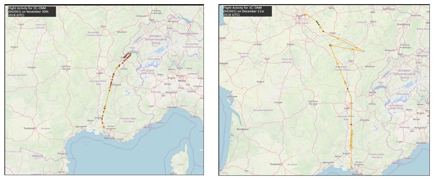 Teodoro Obiang's Dassault Falcon 900B (3C-ONM) flight activities around Paris and Geneva in November and December, 2018. Source:  ADS-B Exchange Historical Flight Viewer .