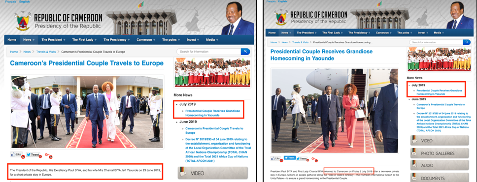 Presidential Foreign Travel Announcement from Cameroon's Office of the President Website. Source:    Travel and Visits Page   , Office of the President Website, Cameroon.