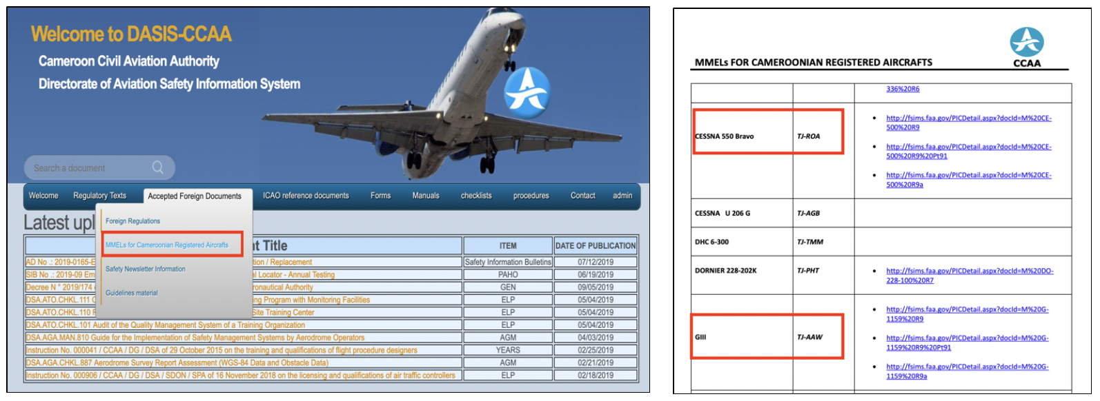 Private aircraft linked to the Cameroonian government as listed in the Cameroon Civil Aviation Authority's (CCA) Directorate of Aviation Security Database (DASIS). Source:    DASIS-CCAA .