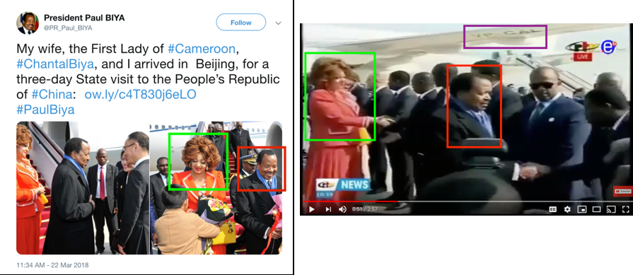 President Biya's arrival reception in Hong Kong between March 22 and March 23, 2018. His transport aircraft bearing Registration Number: VP-CAL on the bottom side of the wing is visible in video imagery of the tarmac event. Source:    President Paul Biya's Official Twitter    and PTV News Youtube Video.