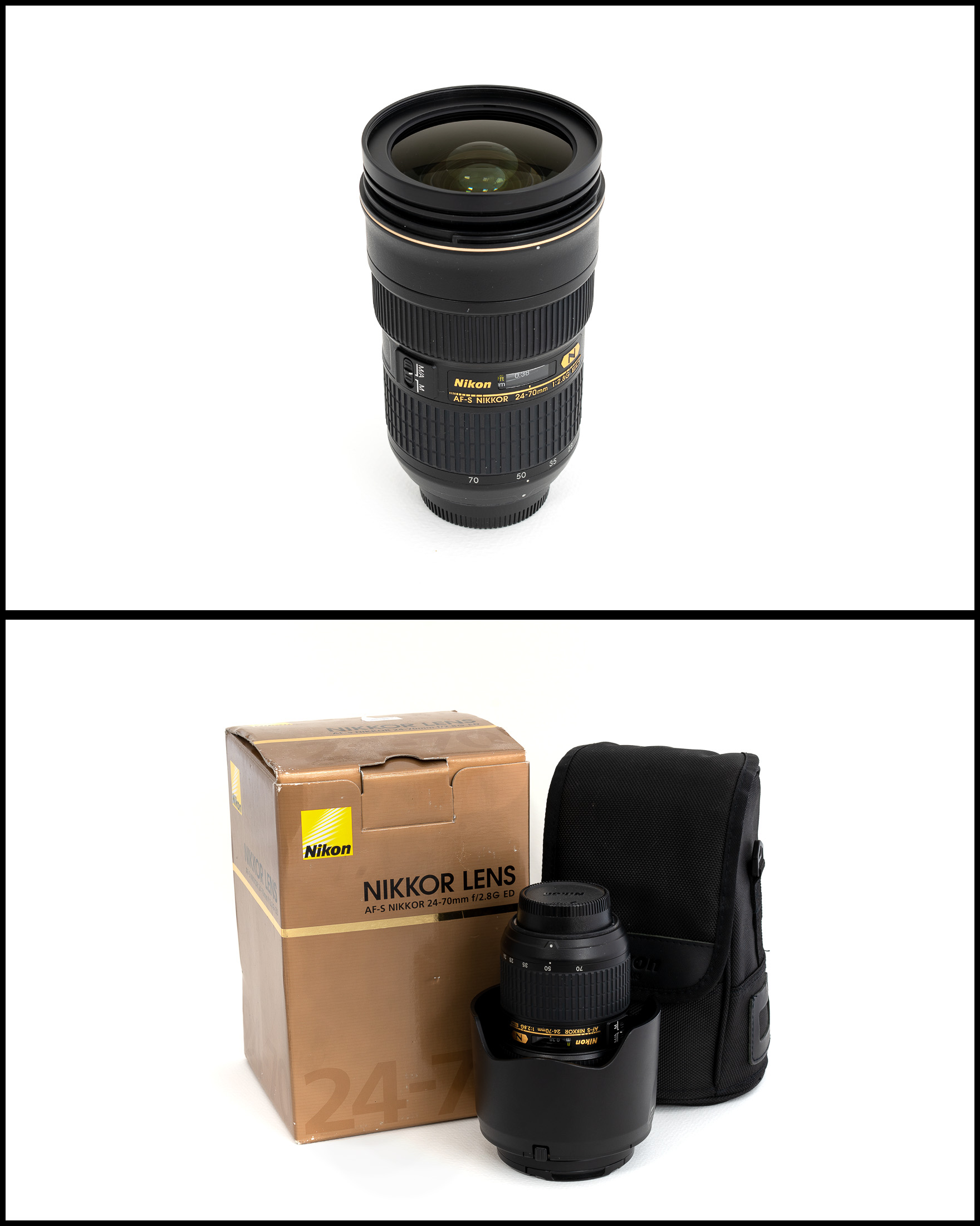 Nikkor/Nikon AF-S 24-70 f/2.8G ED    £950   In excellent condition comes with lens hood, front and rear caps, manual, pouch and original box.