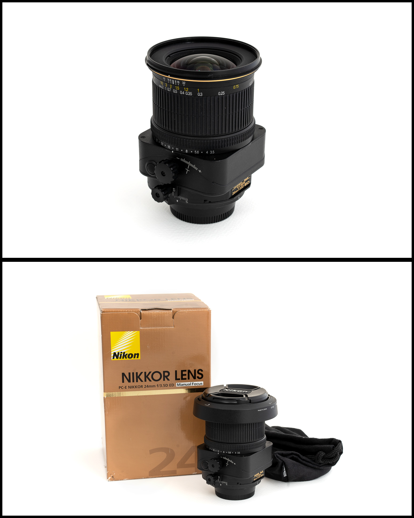 Nikkor/Nikon PC-E 24mm f3.5D ED    £950   In excellent condition comes with lens hood, front and rear caps, manual, pouch and original box.