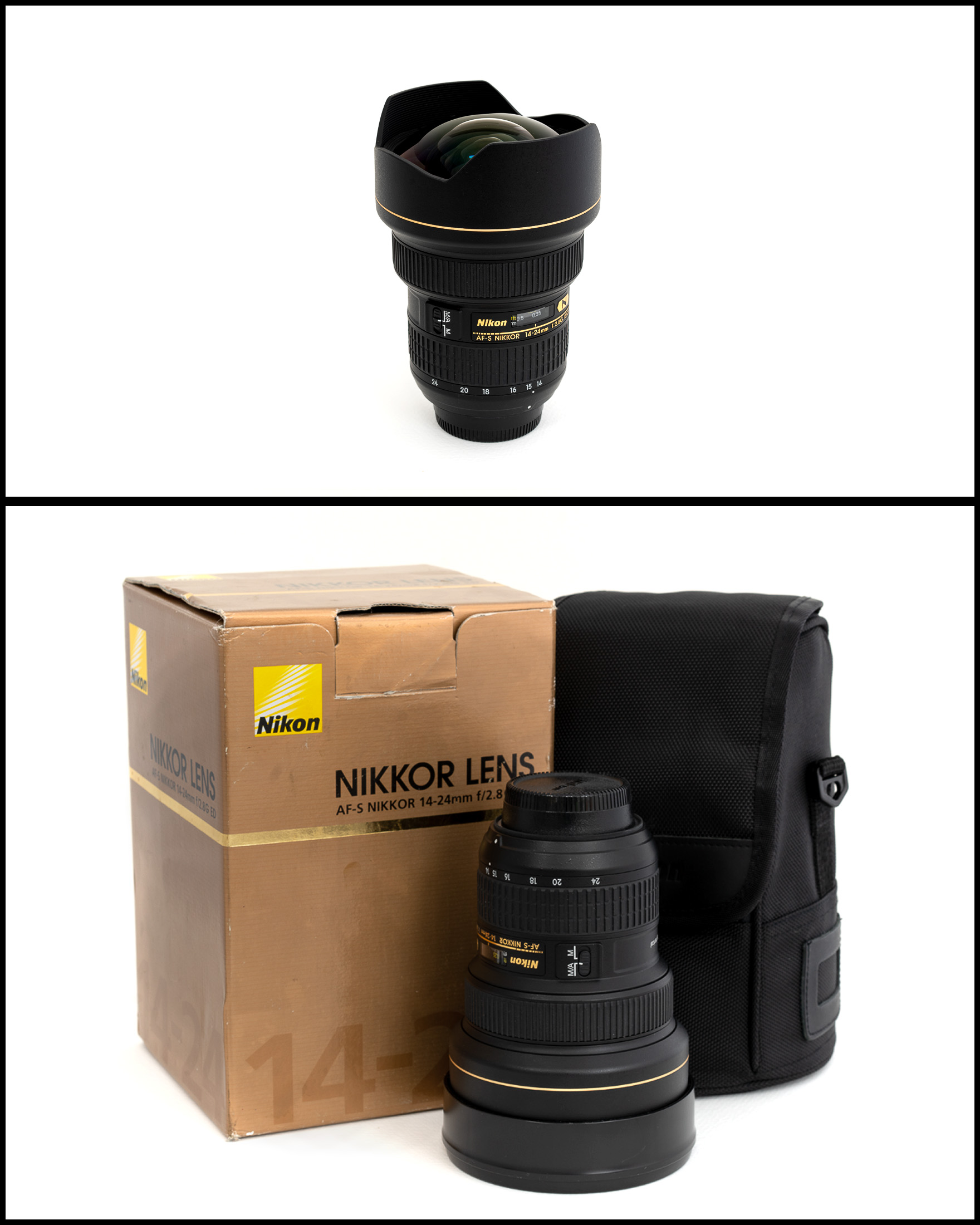 Nikkor/Nikon AF-S 14-24 f/2.8G ED    £1050   In excellent condition comes with front and rear caps, manual, pouch and original box.
