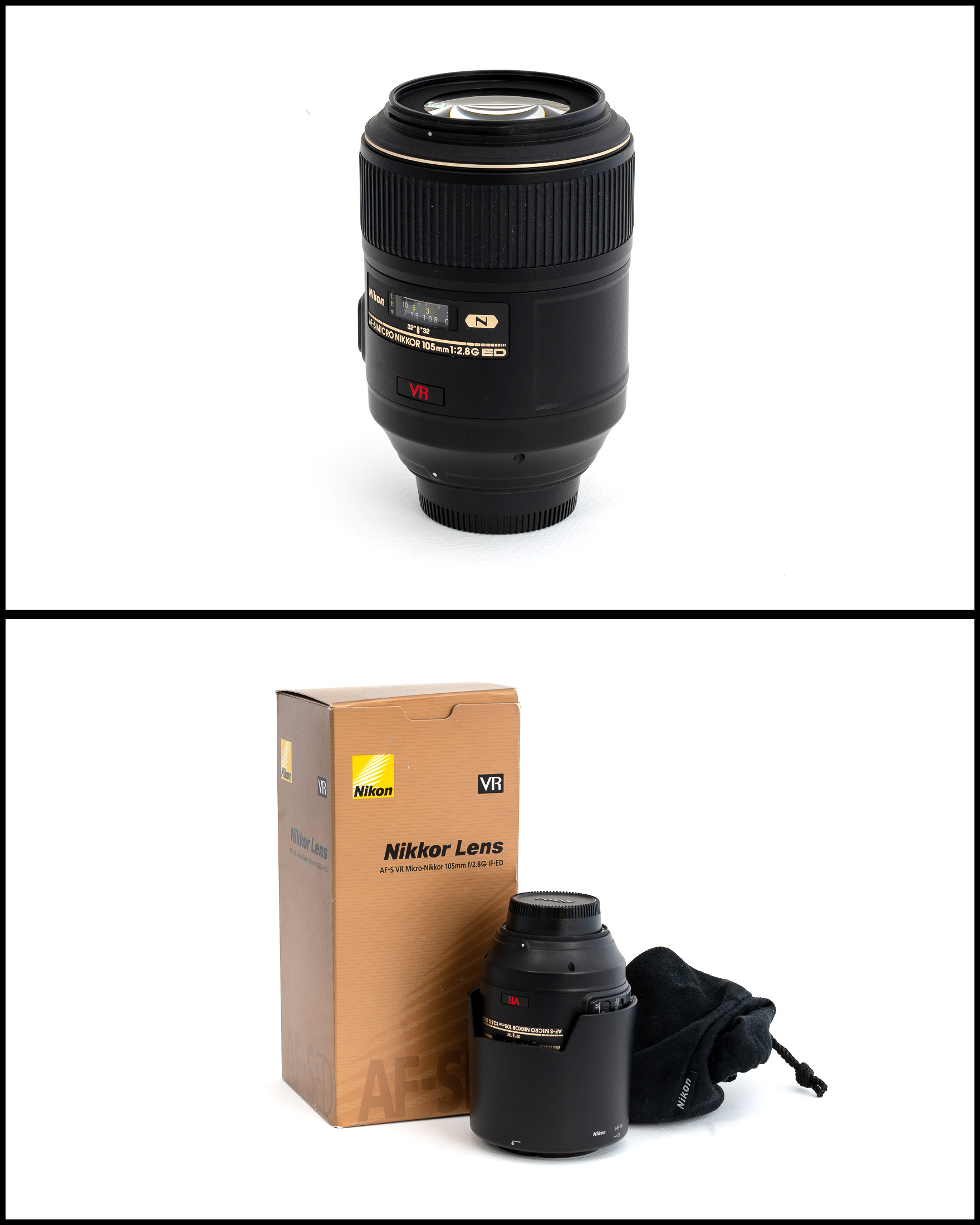 Nikkor/Nikon AF-S VR 105mm Micro f/2.8G IF-ED    £450   In excellent condition comes with lens hood, front and rear caps, manual, pouch and original box.