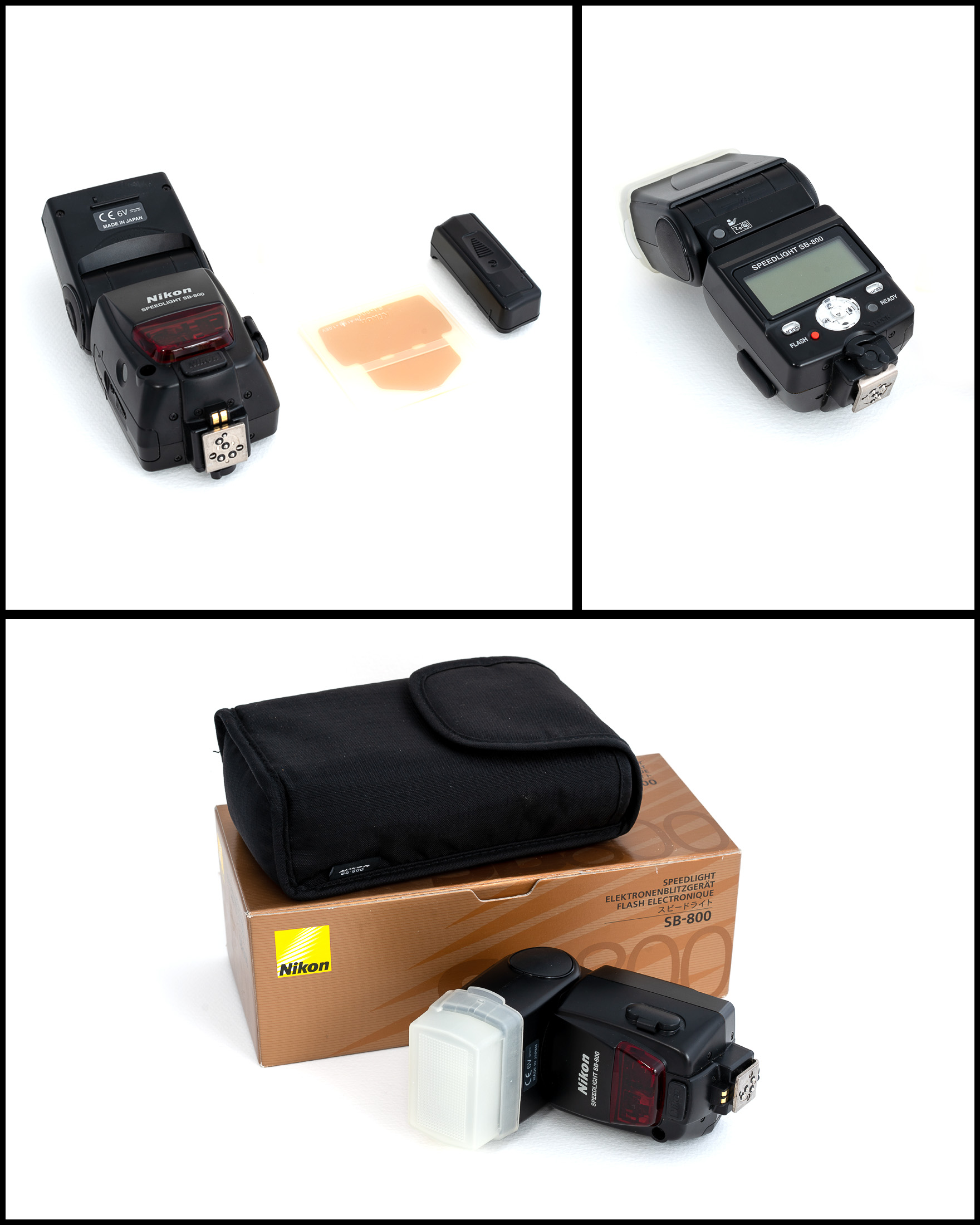 Nikon SB-800 Speedlight    £125   In excellent condition comes with diffuser, gels, 5th battery adaptor, pouch and original box