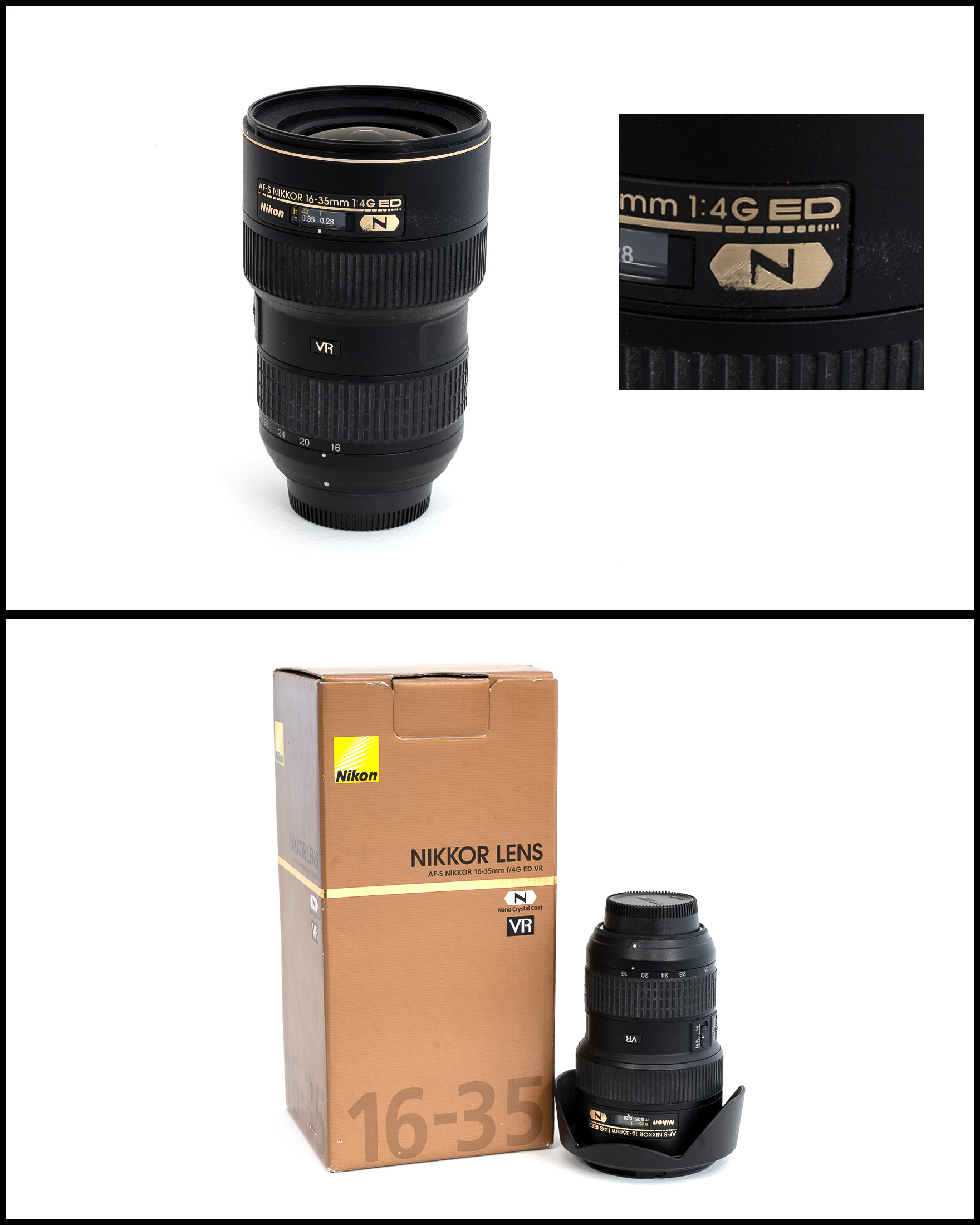 Nikkor/Nikon AF-S 16-35 f/4G ED VR    £650   In good condition slight scratch (pic) with lens hood, front & rear caps, manual, pouch and original box.