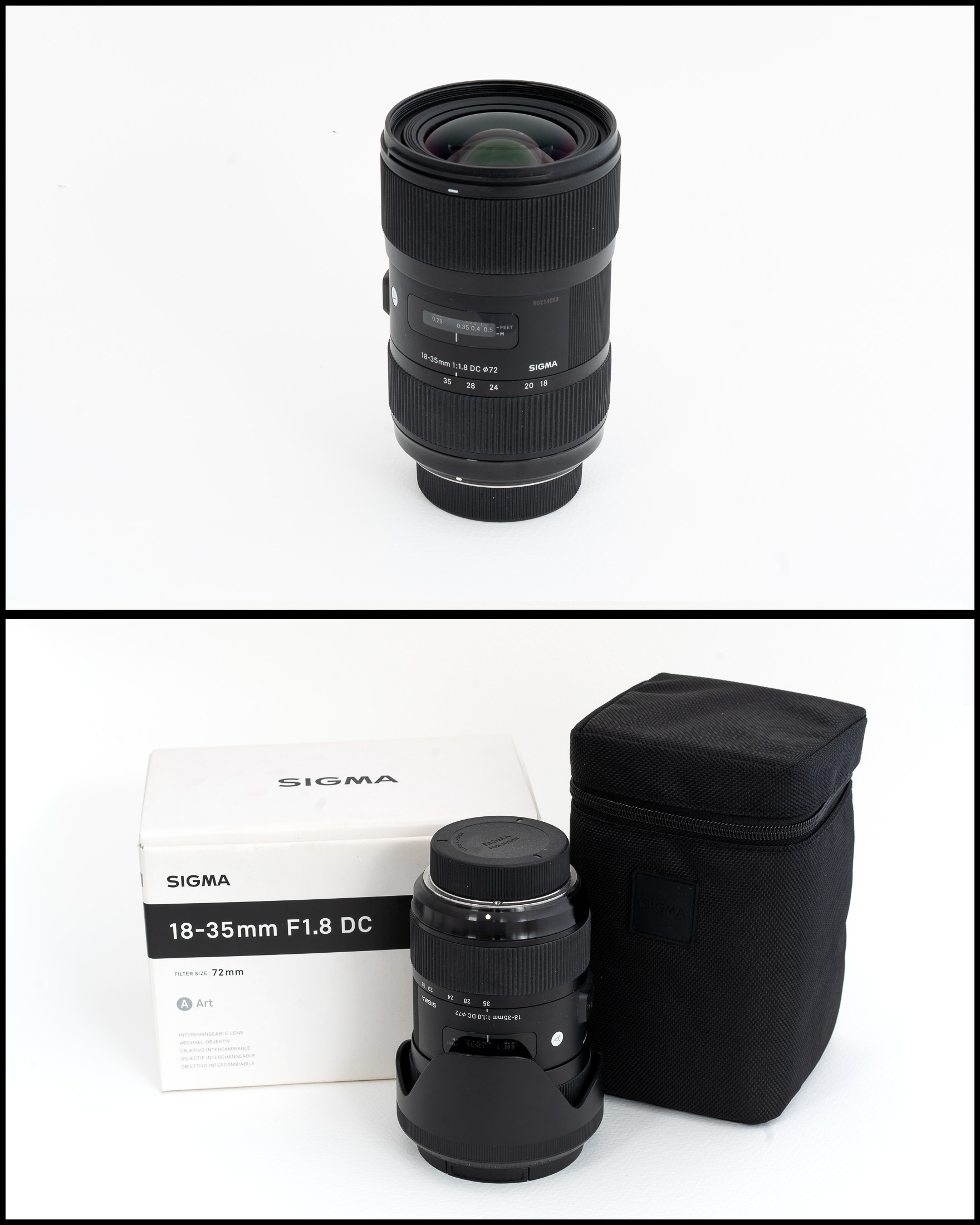 Sigma 18-35 f1.8 DC ART (Nikon fit)    £450   In excellent condition comes with lens hood, front and rear caps, manual, pouch and original box.