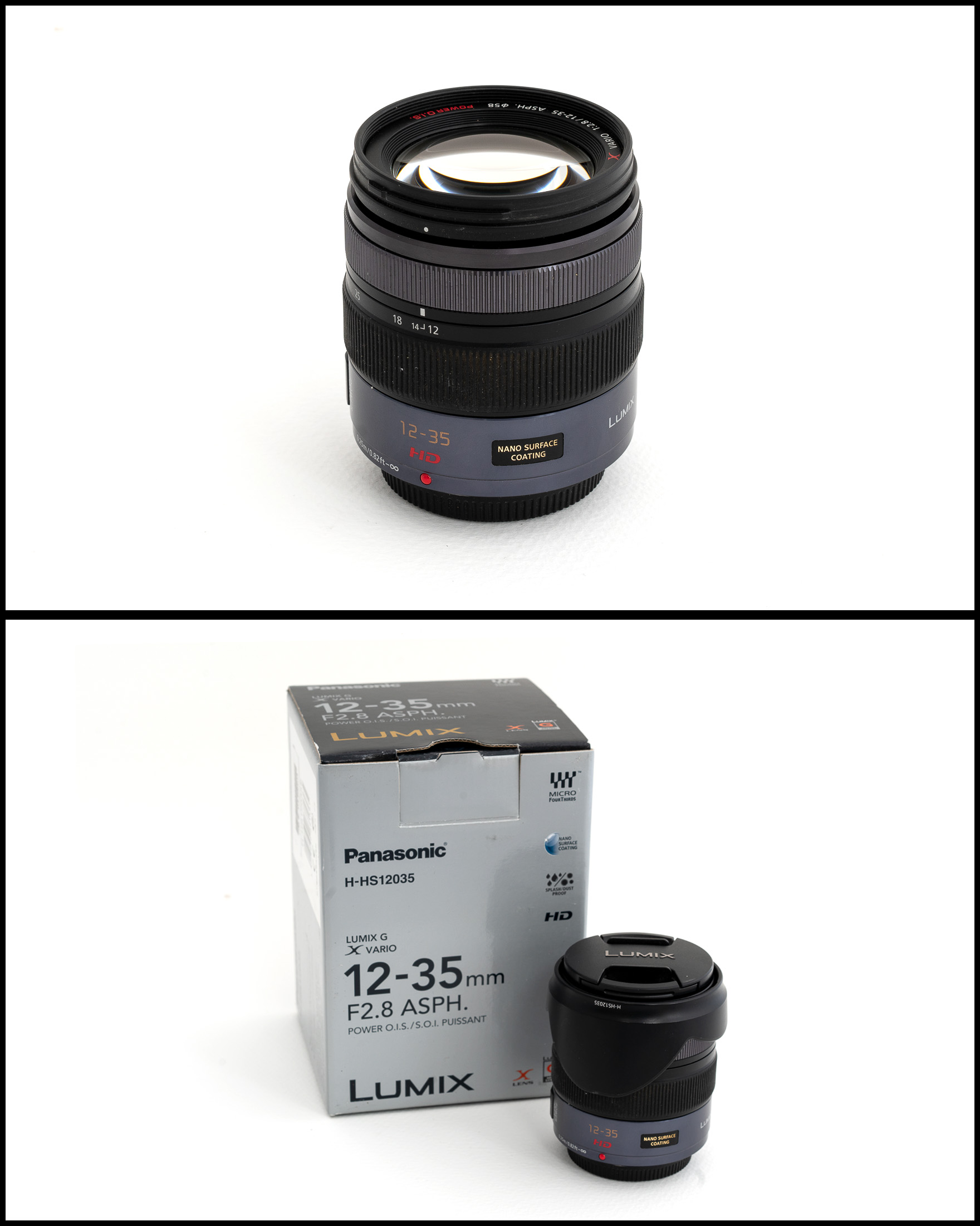 Panasonic 12-35mm f2.8 ASPH Power O.I.S    £400   In excellent condition comes with lens hood, front and rear caps, manual, pouch and original box.