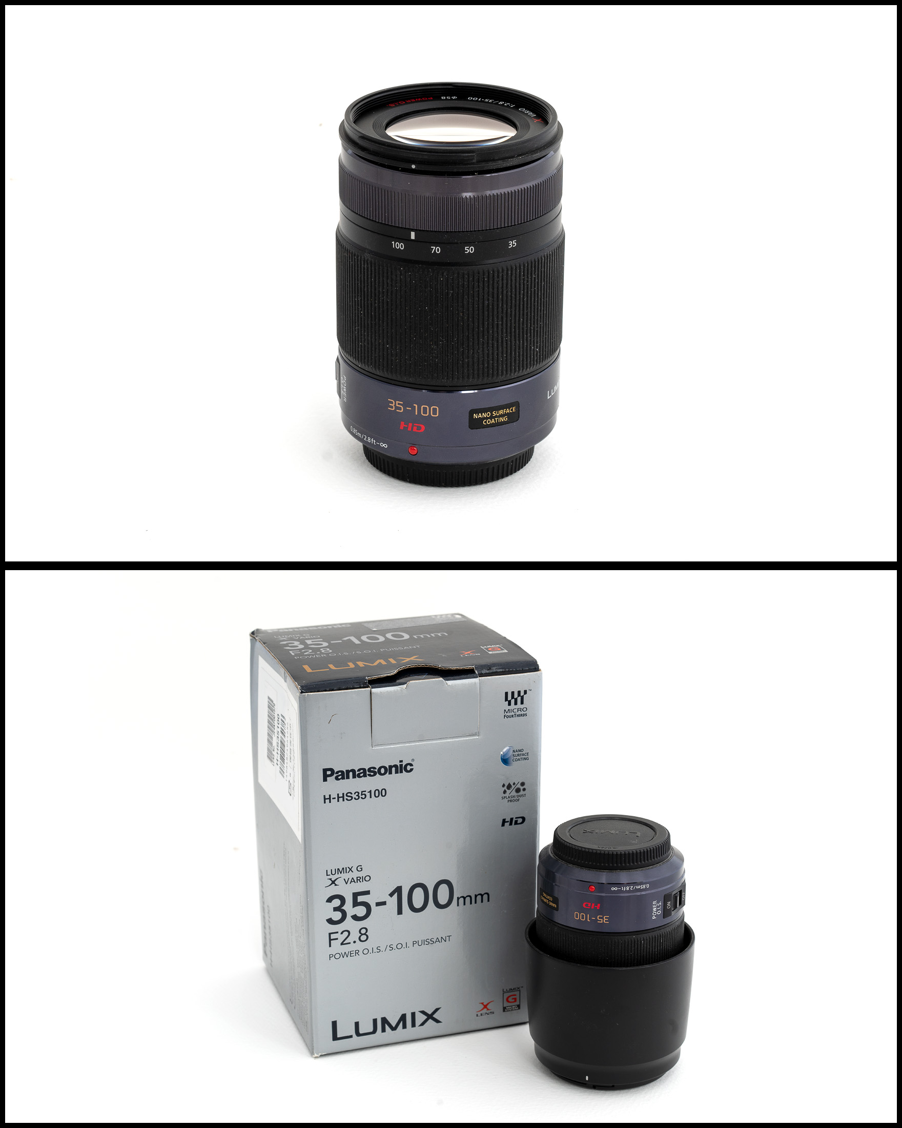 Panasonic 35-100mm f2.8 Power O.I.S    £500   In excellent condition comes with lens hood, front and rear caps, manual, pouch and original box.