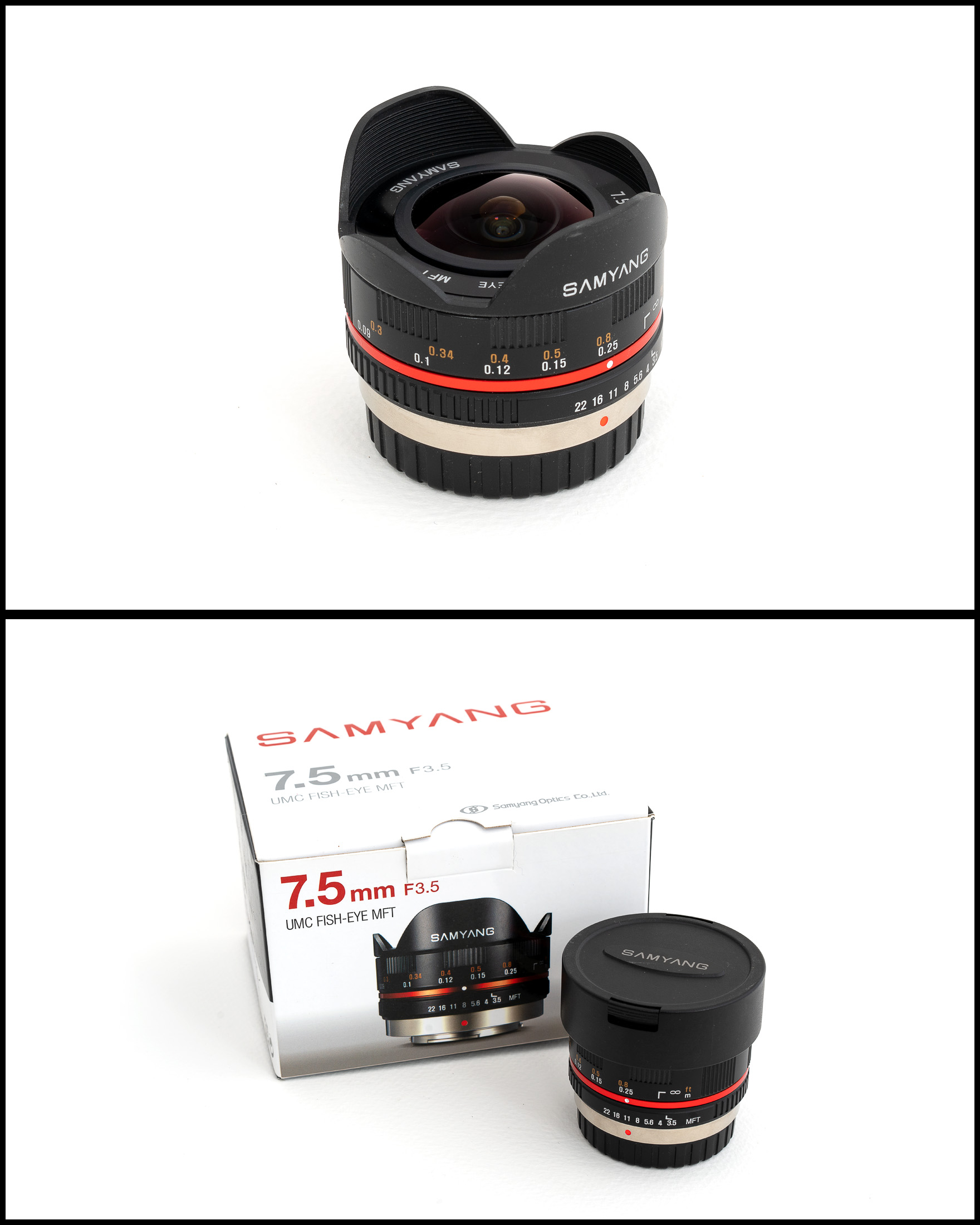 Samyang 7.5mm f3.5 UMC Fisheye (MFT fit)    £180   In excellent condition comes with front and rear caps, manual, pouch and original box.