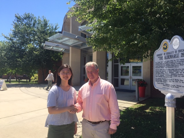 Fife scholarship awardee Jee-ho kim is congratulated by asap vp dave shreve.