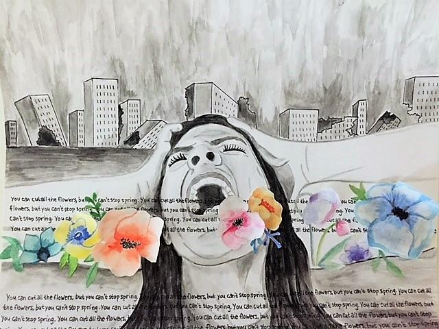 Pintura de Clara Rabbani (16 anos). Aquarela inspirada nas palavras do poeta Pablo Neruda.