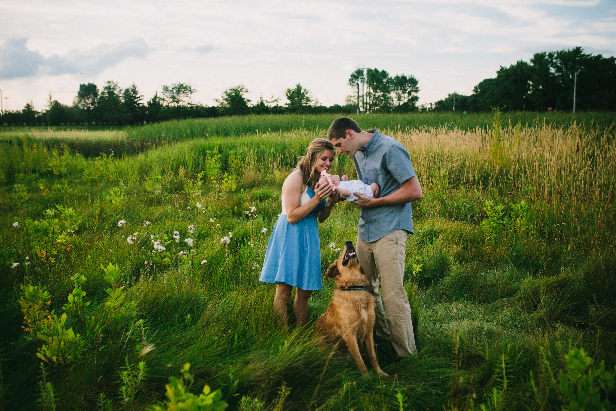 image of mother and father looking down at newborn baby while dog is looking up at baby