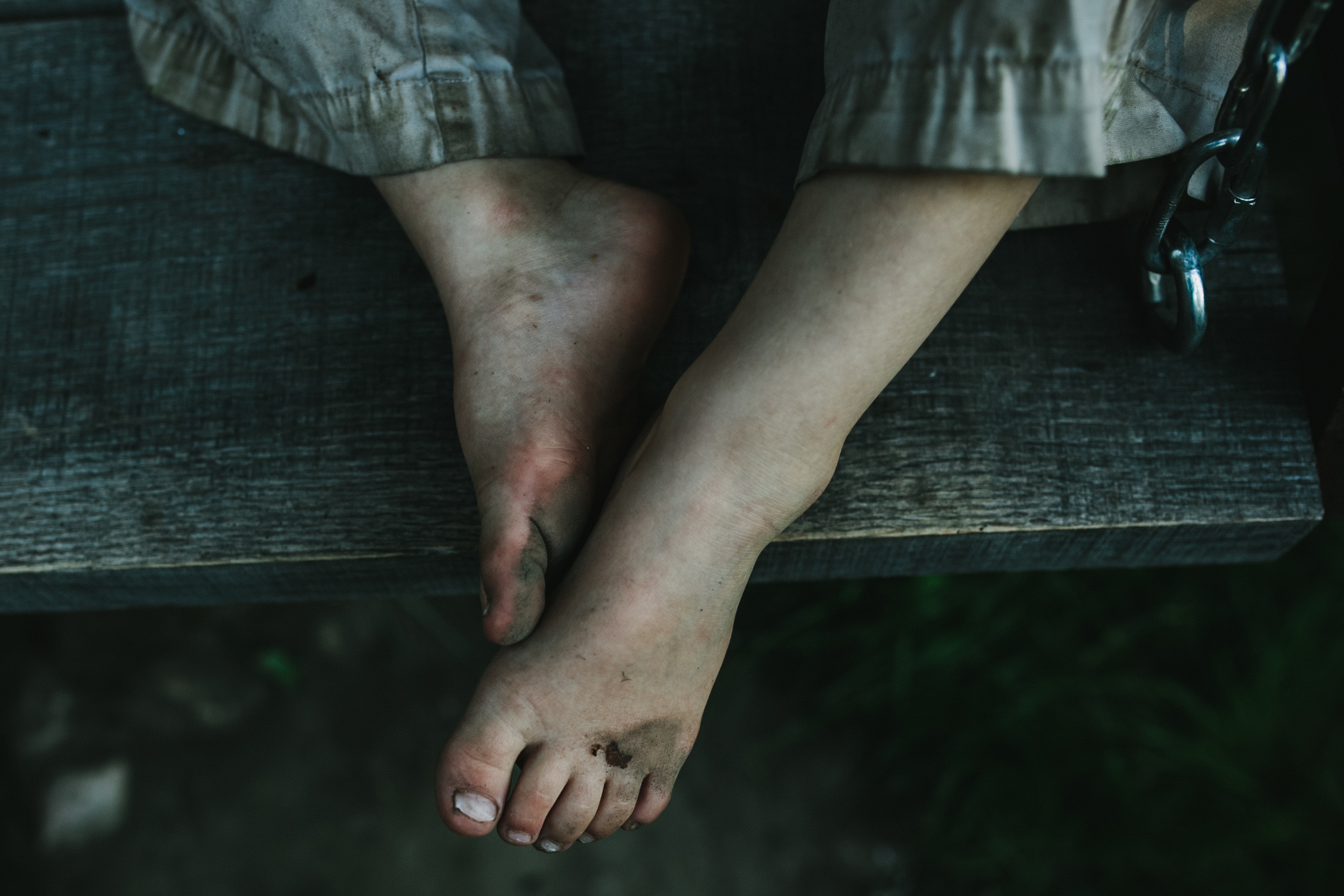 image from family documentary session of a little boy's dirty feet