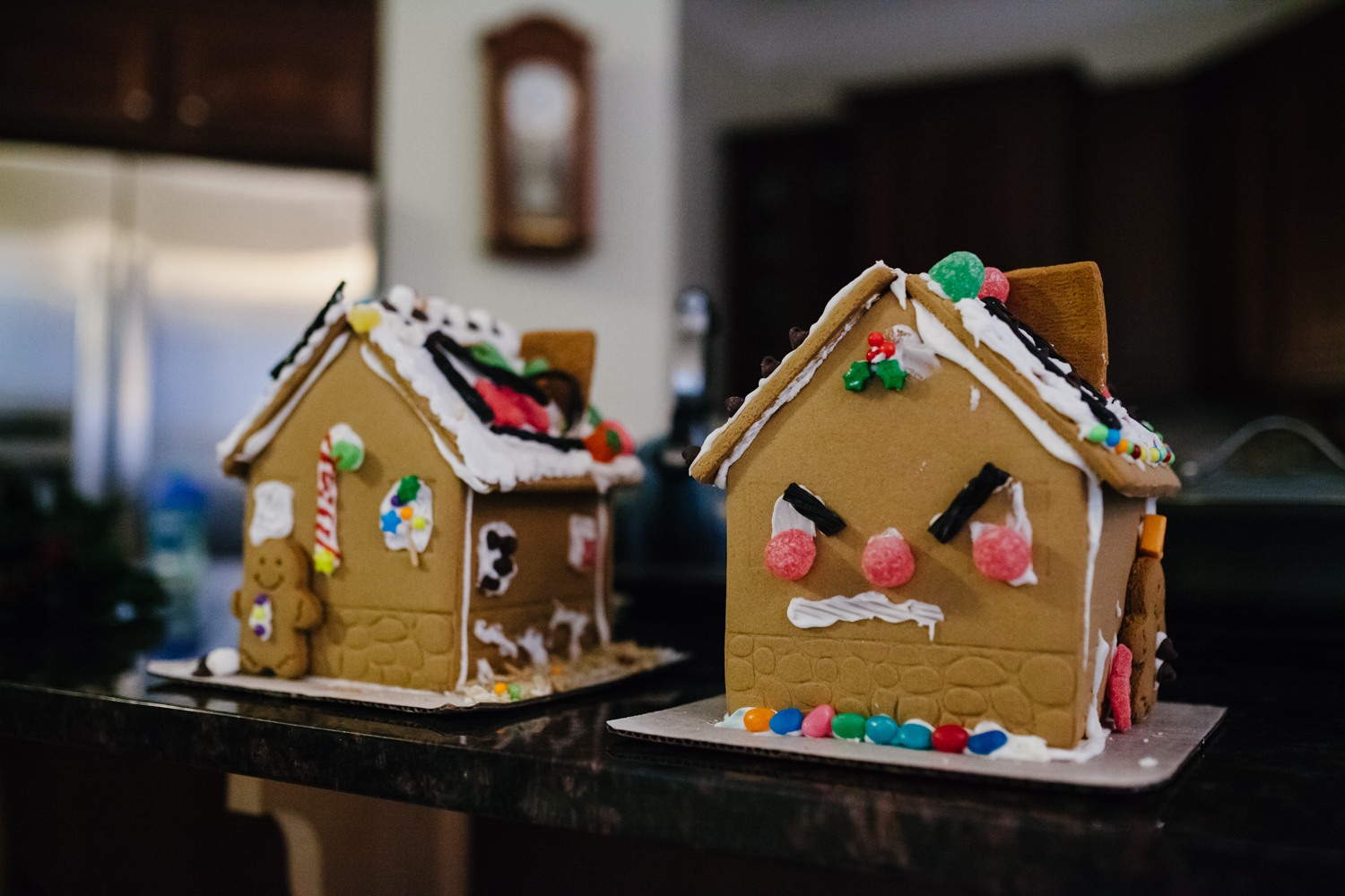 two gingerbread houses from a family documentary photography session in atlanta