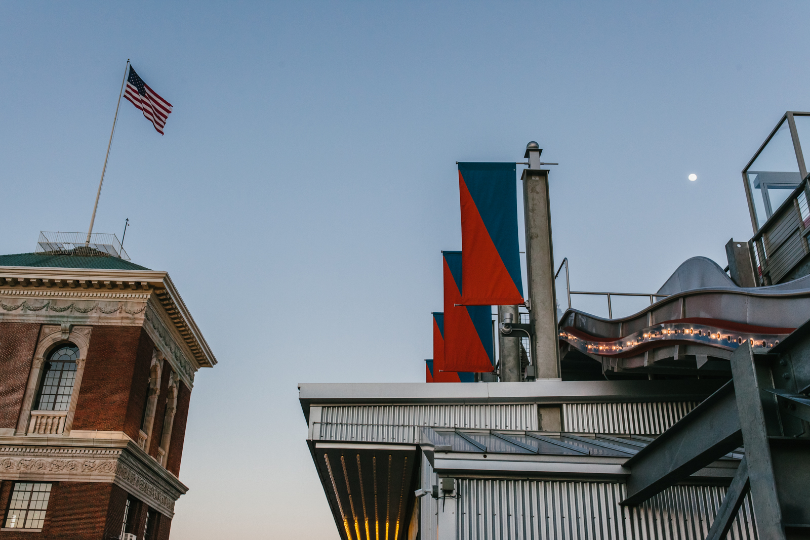 street photography image of flag and slide at skyline park from atlanta clickin walk 2017