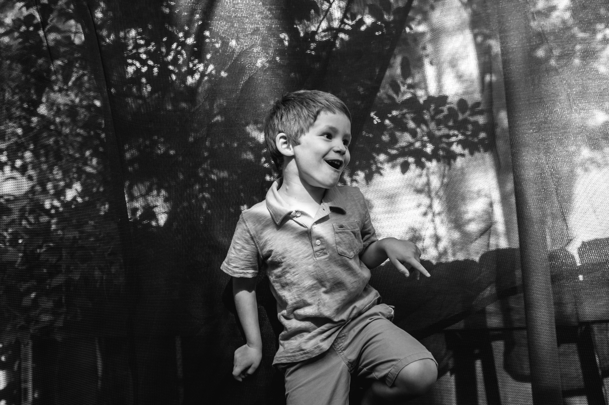 Boy dancing on the trampoline