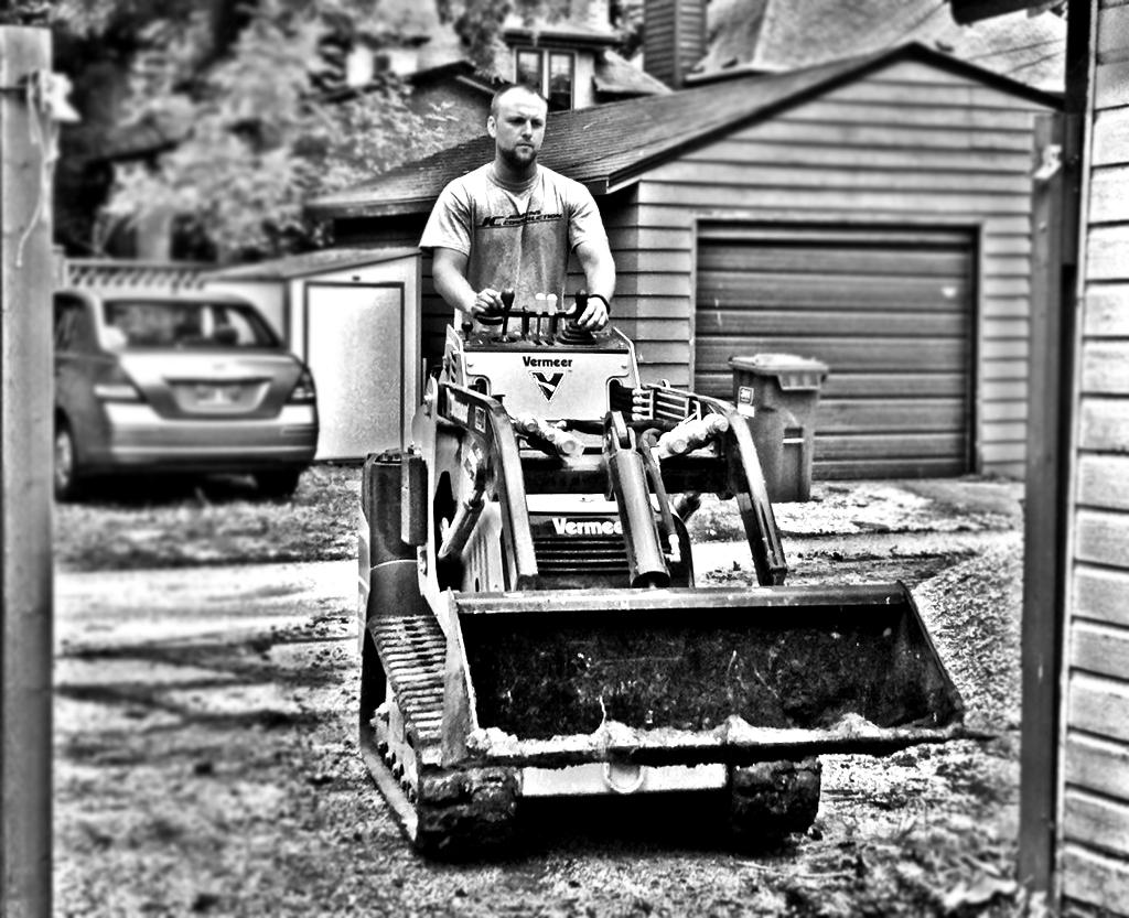 Owner Stephen Jenkyns preparing a worksite.