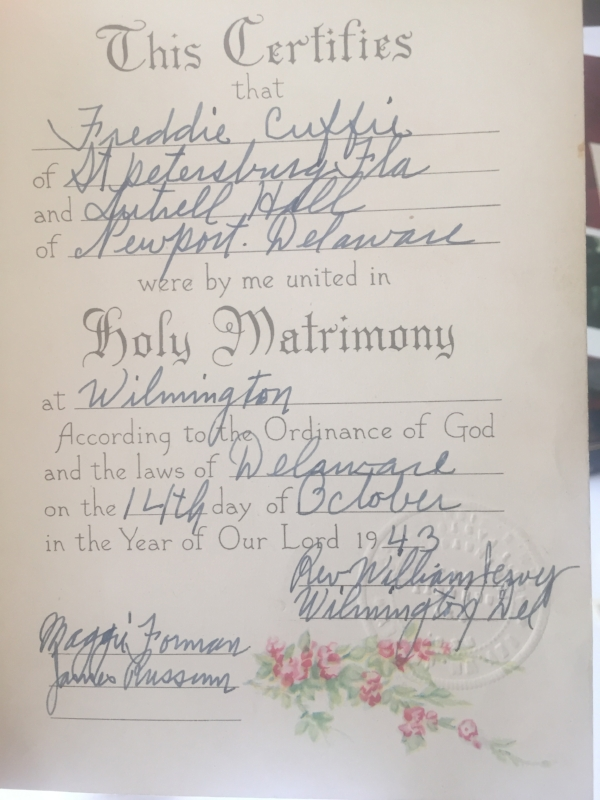 Fred and Lutrell Wedding Certificate.JPG