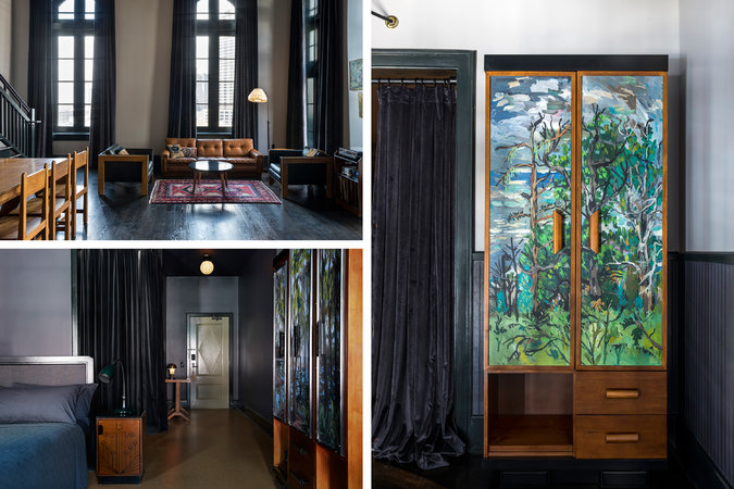 The location's distinct local style is thanks to southern collaborators, including artists who custom painted the armoires in each guest room (right). CreditFran Parente