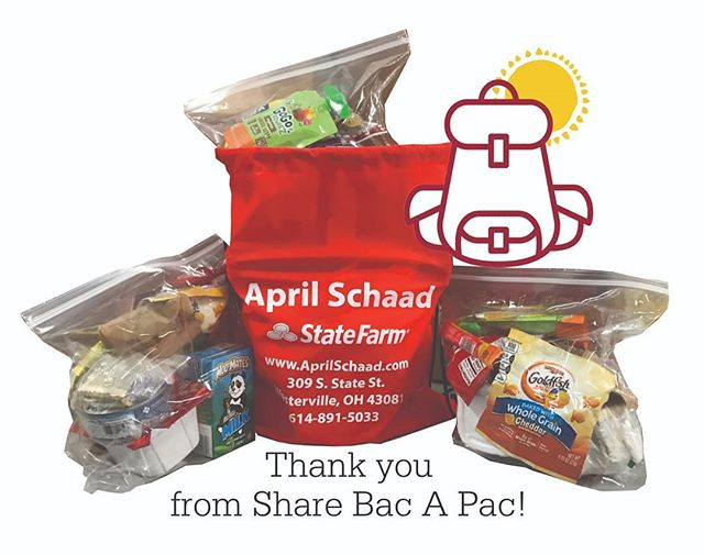 Thank you to April Schaad-State Farm Agent for donating over 1,000 bags to help send bags home through Share Bac A Pac.  Want to help? SBAP needs: Granola Bars GoFo Squeeze Cheese Sandwich Crackers