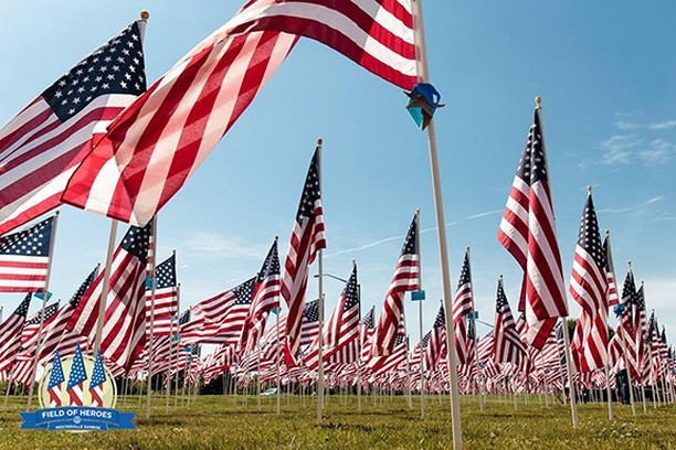 "Field of Heroes - Hosted by Westerville Sunrise Rotary  May 24, 2019 - May 27, 2019 Located across from the Westerville Community Center on Cleveland Avenue in Westerville, Ohio. This year's theme is ""Welcome Home"", it will include over 3,000 American Flag along with other events. For more information go to https://www.fieldofheroes.org/"