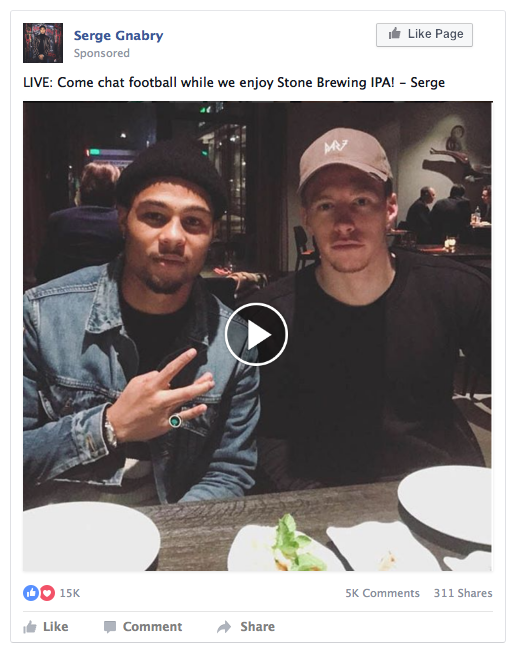 Dinner w/ Serge - A casual FB Live dinner conversation where Serge talks football, life, and beer with viewers.