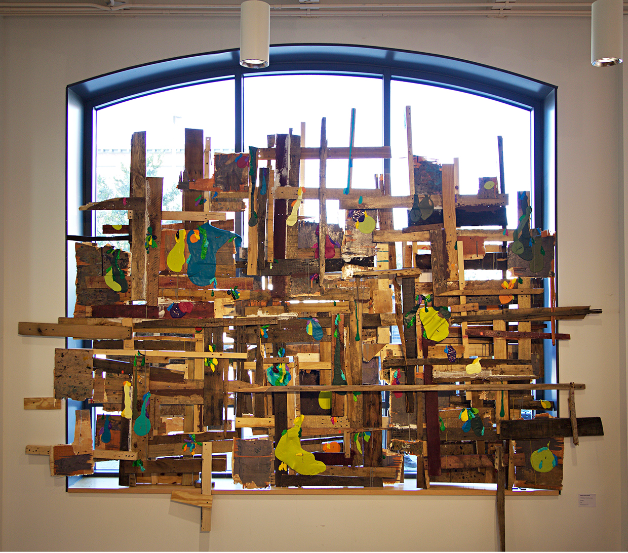 "PROMESA (H.R.5278, S.2328)   (2016)  Found wood, acrylic, enamel, silicon, screws, glue, concrete, color lights and varnish.  122"" x 133"" x 12"""