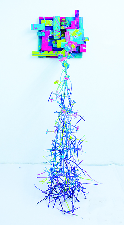 """Lost In Translation  (2014)  Acrylic, enamel, spray paint, wood and metal  72"""" x 18"""" x 36"""""""