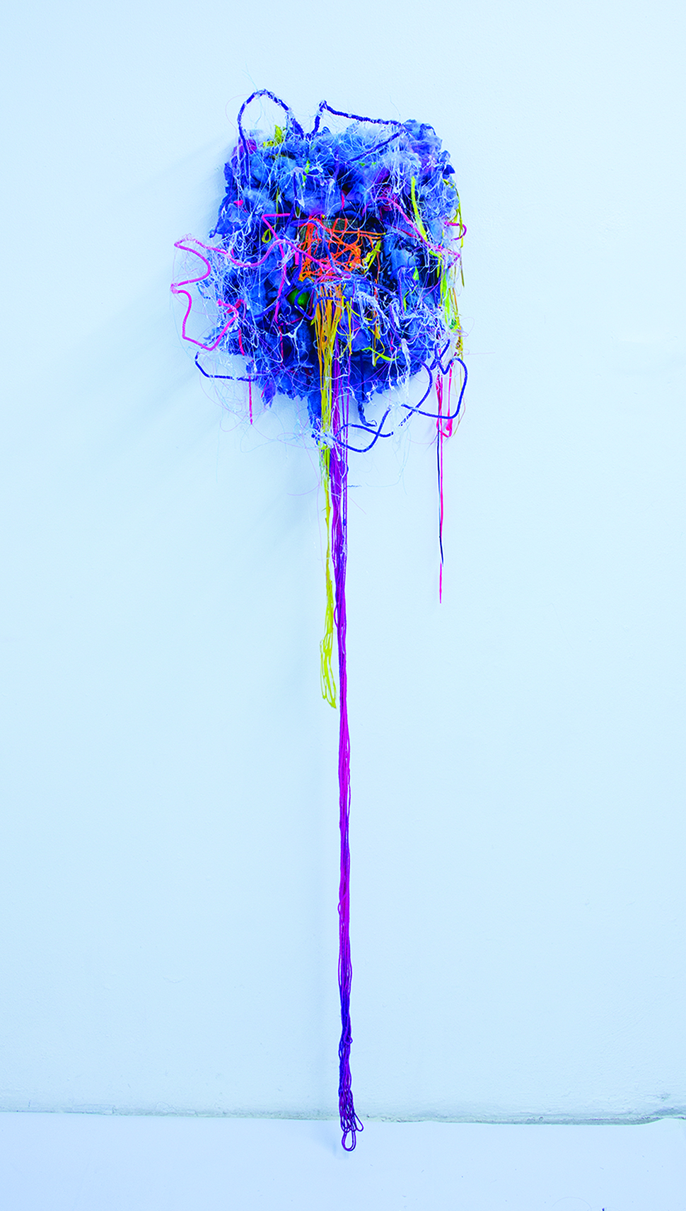 """Due To Your Lack Of Observation and Your Willingness To Assume (2014)  Fabric, cotton, yarn, wood, silicon, acrylic, glue, enamel and spray paint  72"""" x 20"""" x 12"""""""