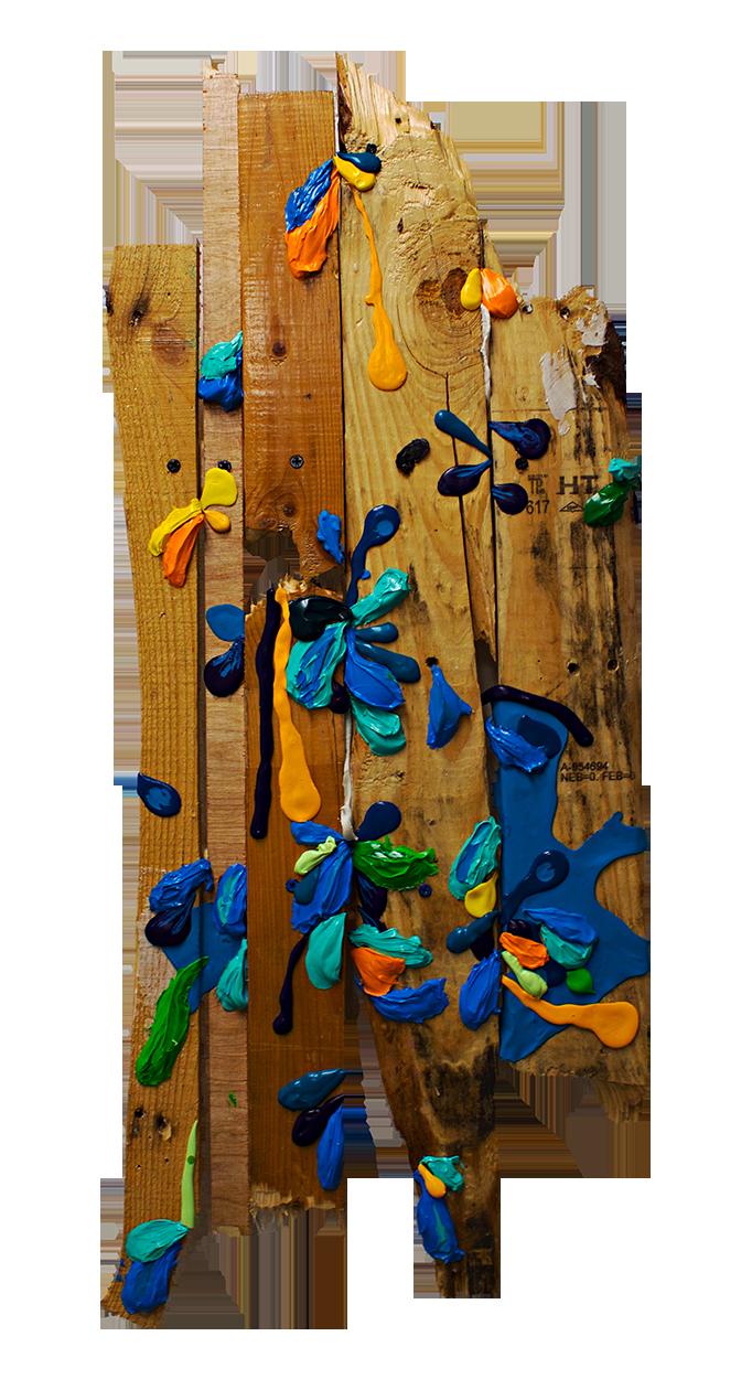 "Puerto Rican Landscape (Flamenco Beach) (2016)  Found wood, acrylic, enamel, silicon, screws, glue and varnish  36"" x 14"" x 3"""