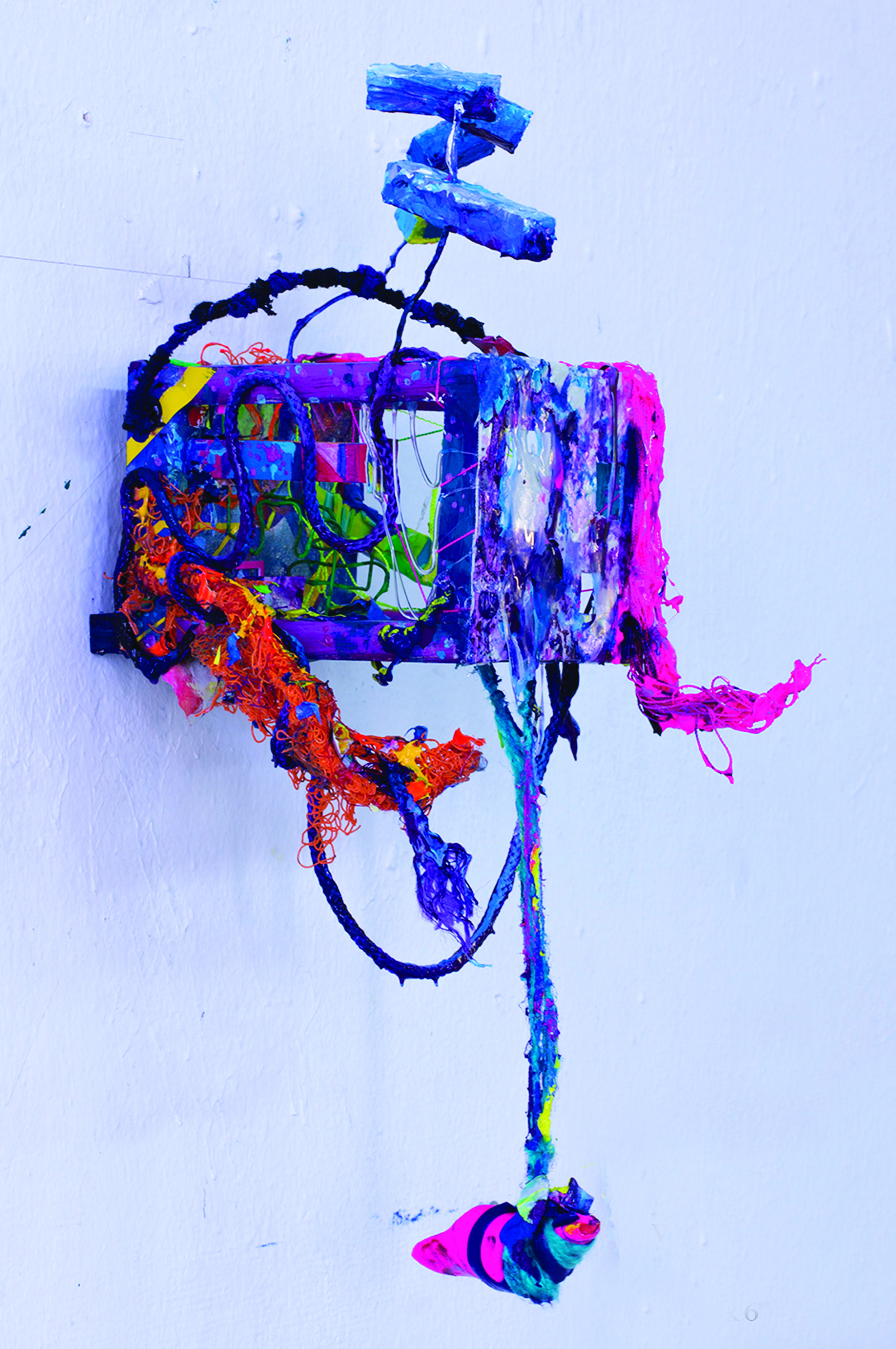 """Size Matters (2013)  Wood, canvas, acrylic, yarn and plastic  14"""" x 6"""" 7"""""""