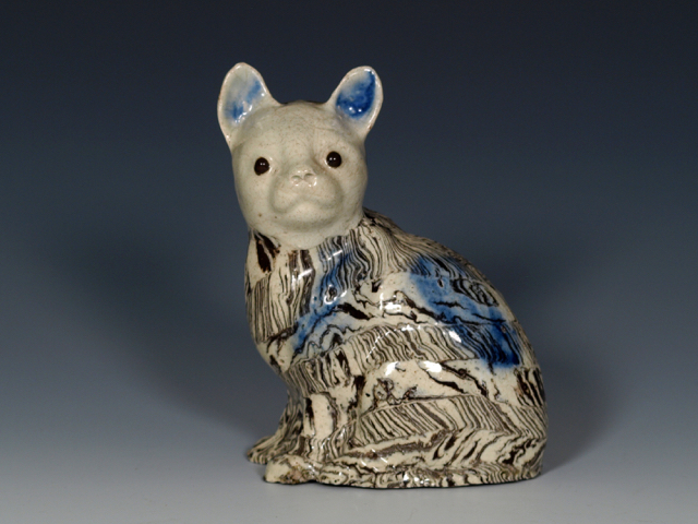 "Staffordshire Salt-Glazed Stoneware Solid Agate Model of a Cat, c.1750, 4 ½"". (Collection of Frances L. Dickson, Sotheby's, London, 21.5.1954. Collection of Joan & Herbert Klee, Christie's, New York, 4.19.1991.)"