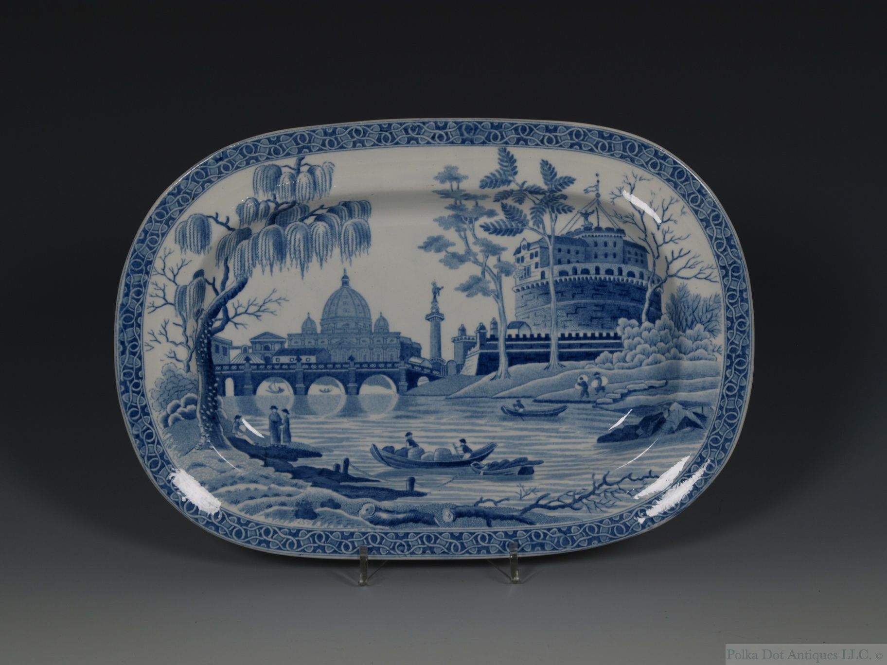 "A Small Spode Blue & White Oval Dish, 1840s, 9¼ x 6½""."