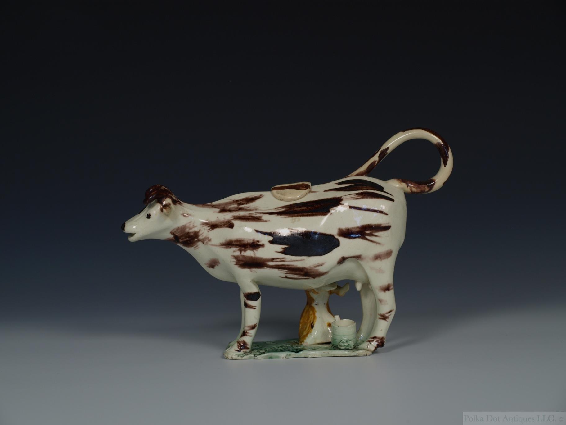 Staffordshire Creamware Cow Creamer & Cover, c.1790.