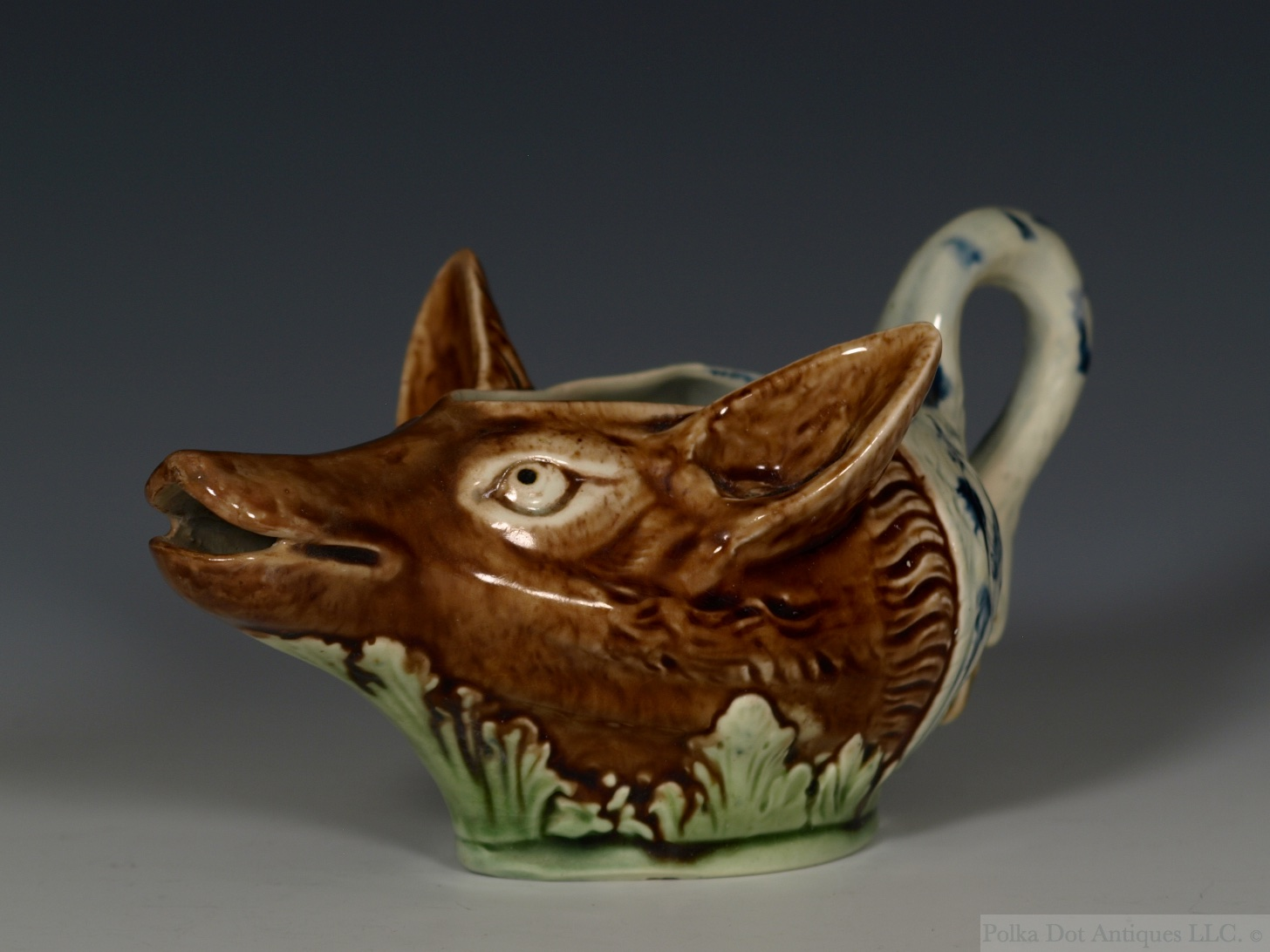 "Pearlware Fox and Swan Sauceboat, c.1780s. 6"" long."