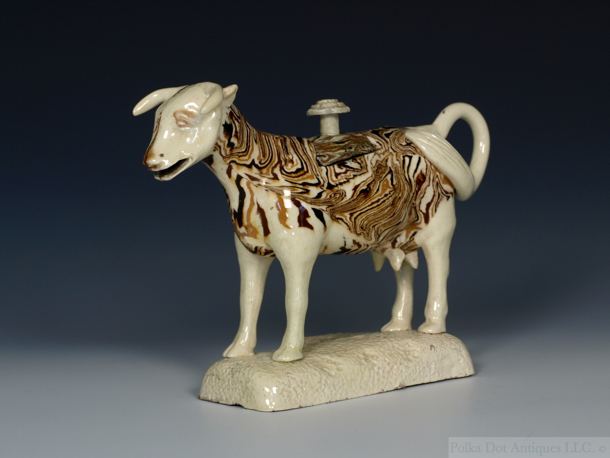 Rare Staffordshire Solid Agate Ware Cow Creamer, c.1775. Provenance – Captain C. B. Kidd Collection. Sotheby's, London, 10/1/67. Lot - 37. Christie's, London, 1/6/70. Lot – 95. Boswell and Ward.