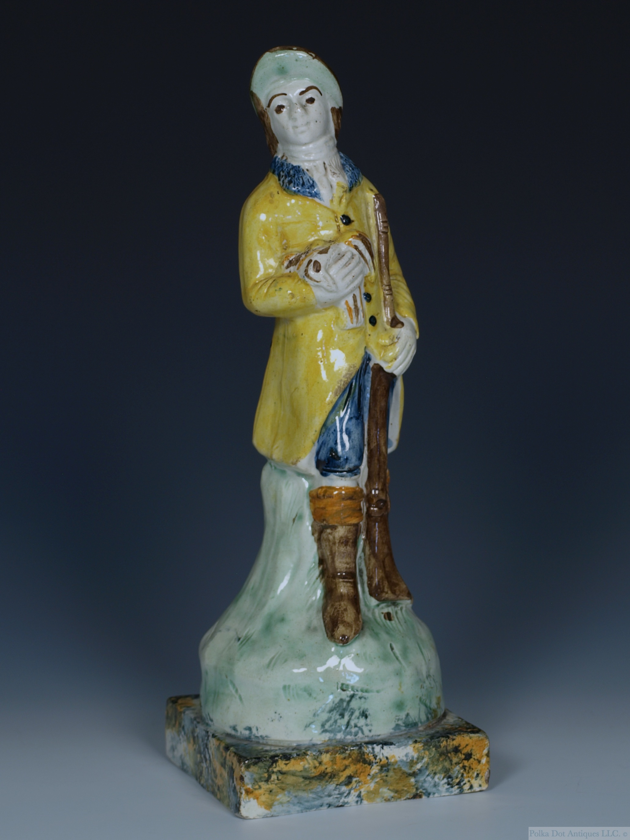 "Staffordshire Pratt Ware Figure of a Sportsman, c.1790, 10½""."