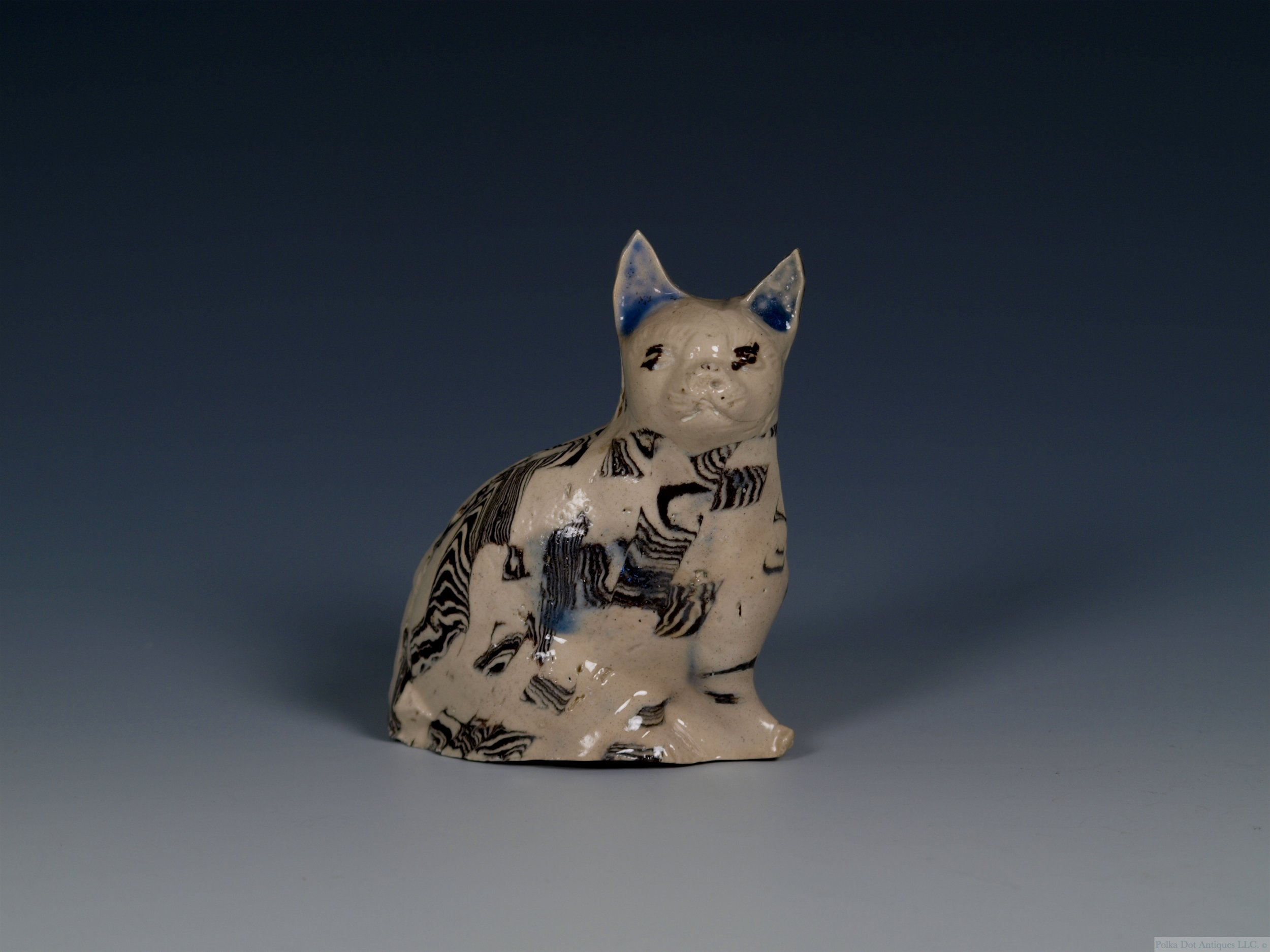 "Stoneware Solid Agate Model of a Cat, c.1750, 4 ½""."