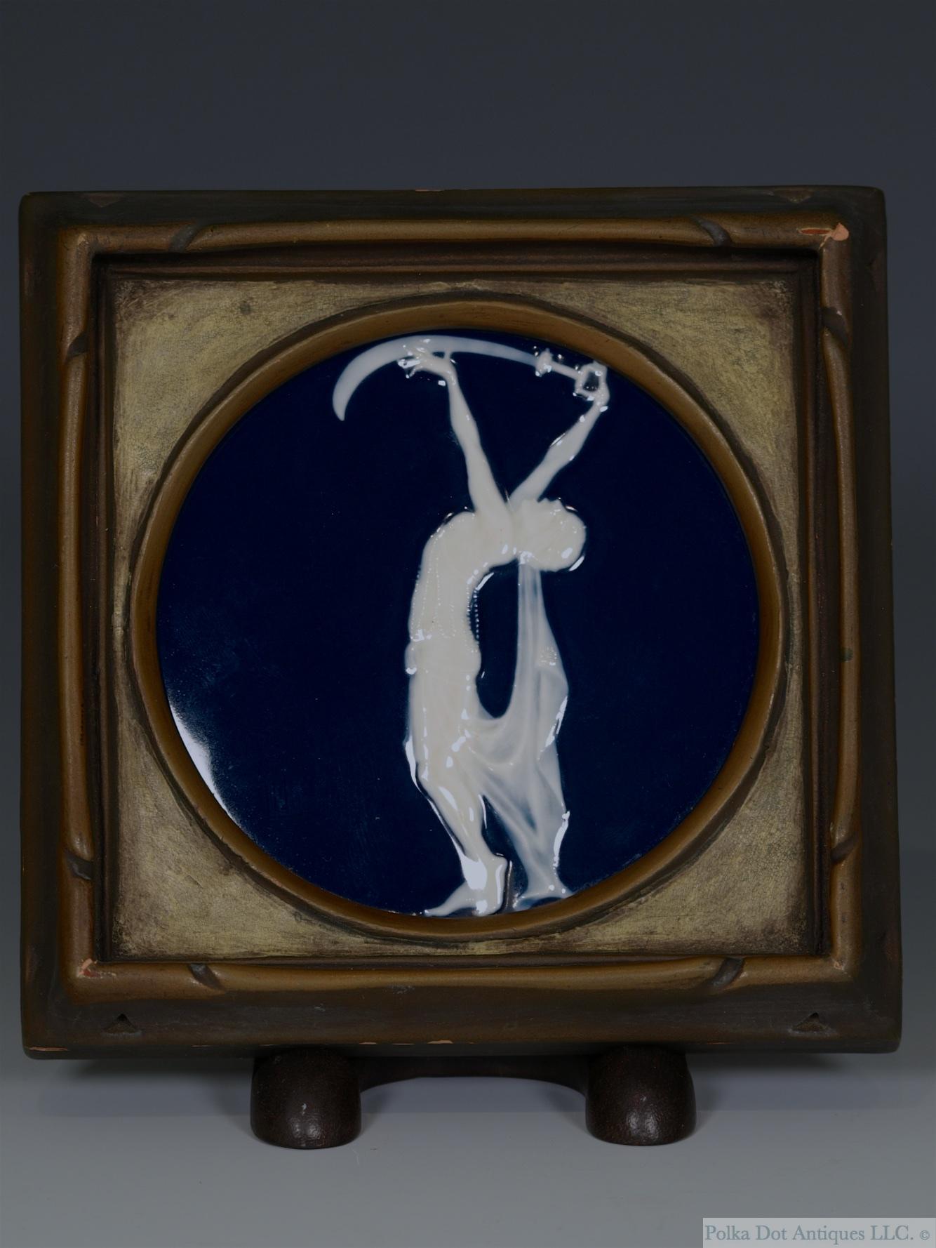 "Rare Lois Whitcomb Rhead Pâte-sur-pâte Framed Plaque 'The Scimeter', 1920-22, , 4"" diam."