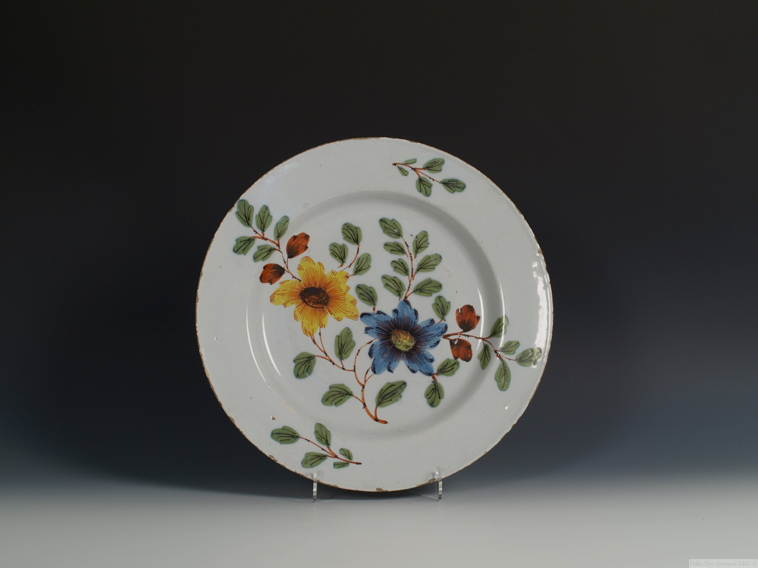"Liverpool Delftware 'Fazackerly' Charger, c.1760, 13¼"" diam."