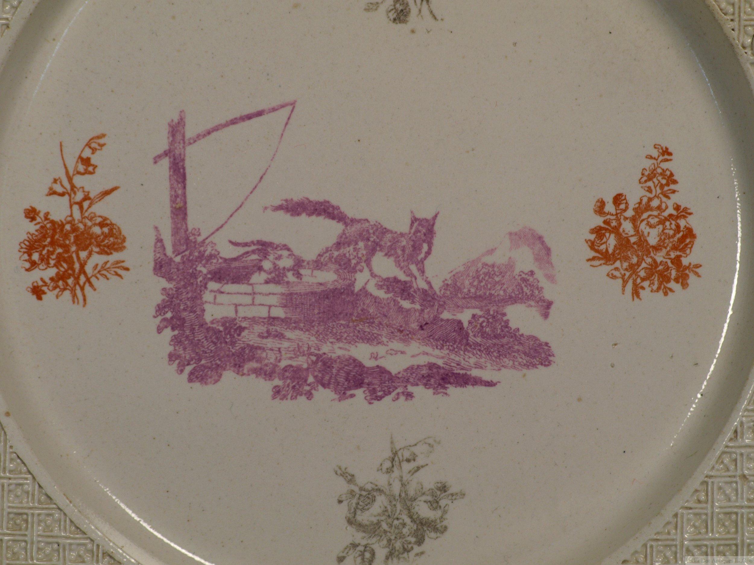 "Very Rare Staffordshire Salt-Glazed Three Color Printed Plate, 1756-60, 9 1/8""."