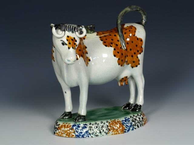 RW001214 - Yorkshire Prattware Cow Creamer and Cover - 4.jpg