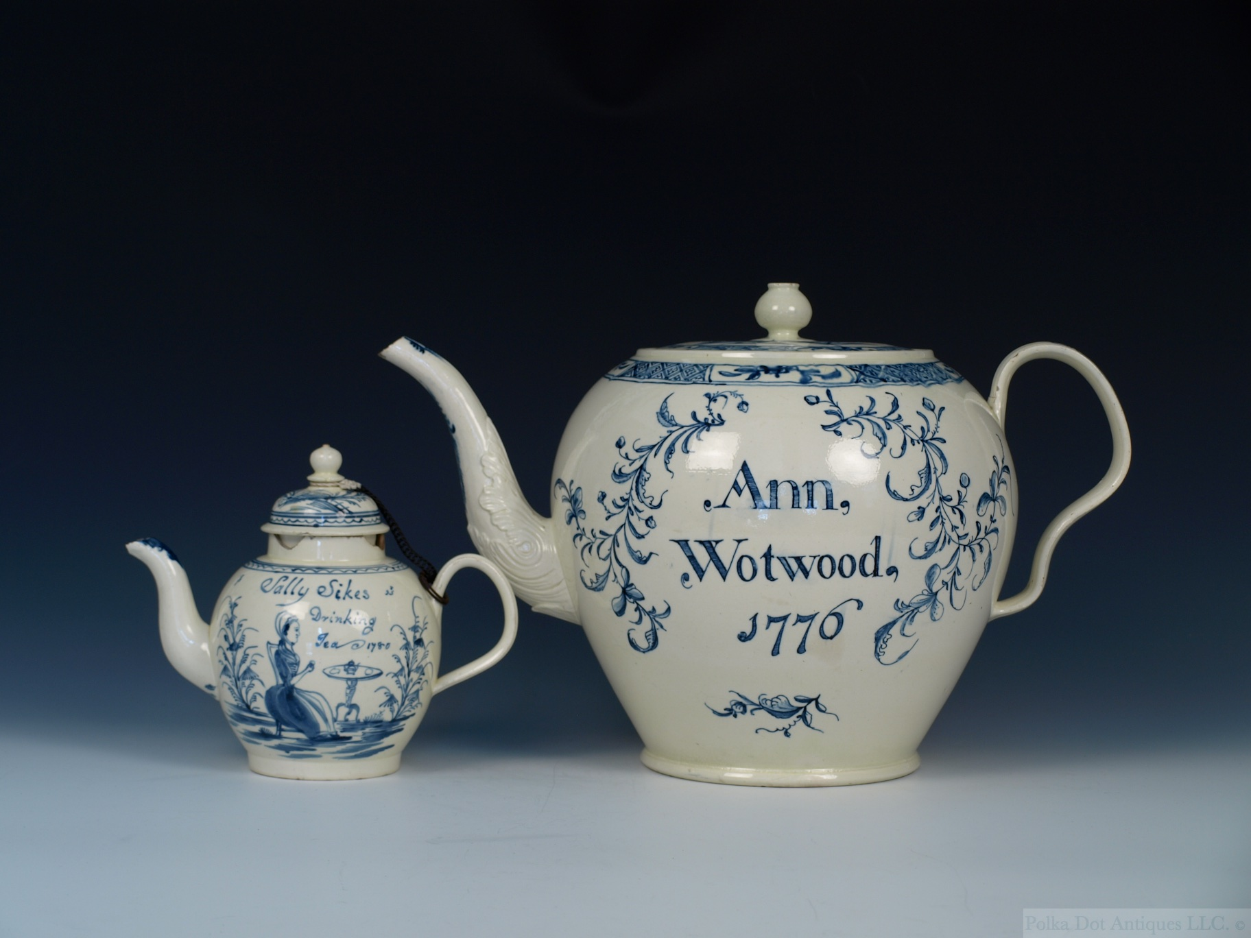 "English Creamware Blue and White Named and Dated Punch Pot, 1776, painted name ""Ann Wotwood, 1776,"" 10¼"" high."