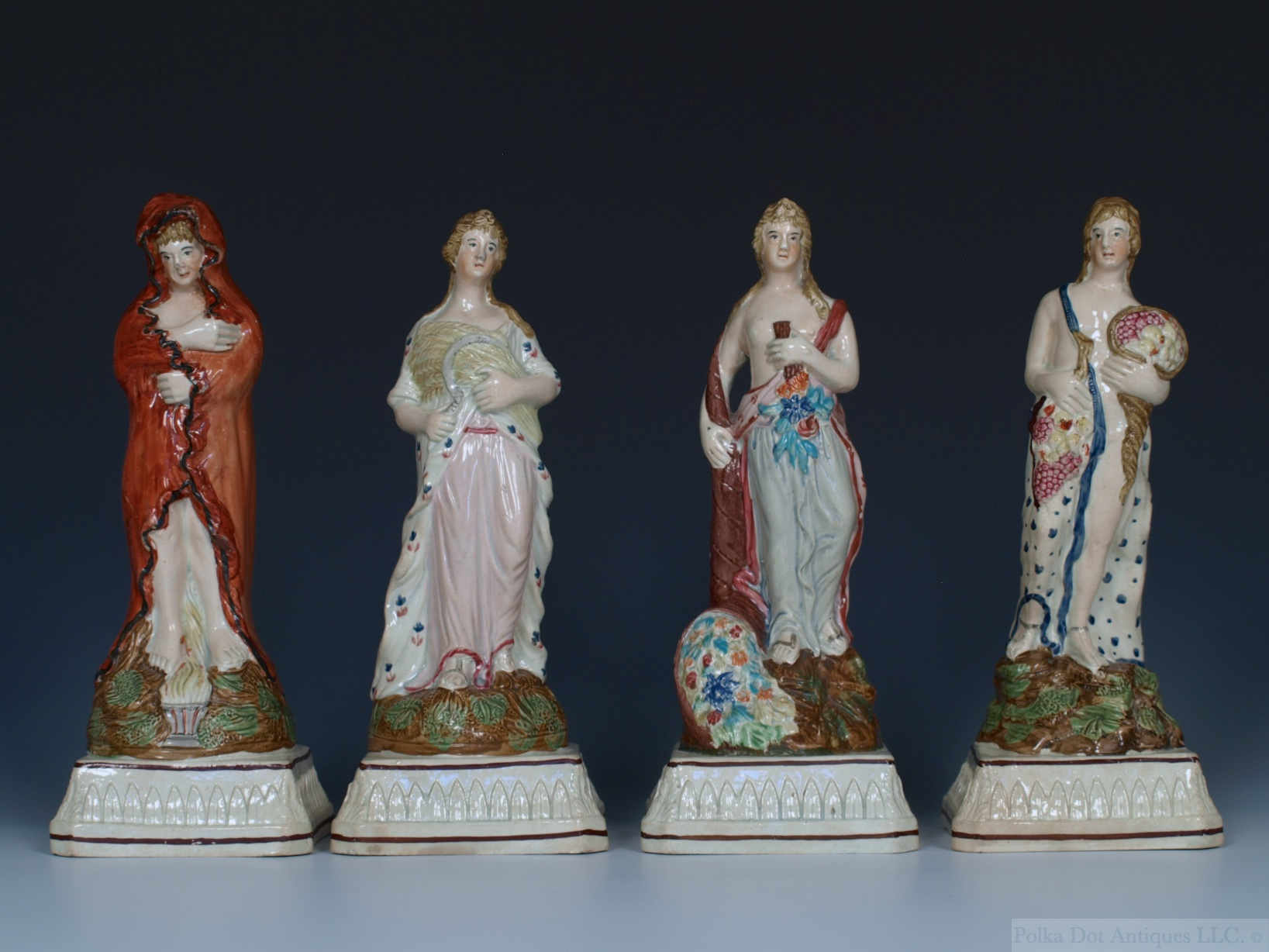 "Set of Four Dixon Austin & Co Figures of the Seasons, c.1820, on stiff leaf bases with acanthus corners, 9""."
